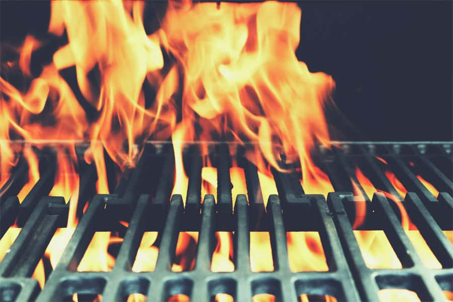 Fire is coming thought the grill grate