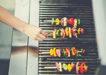 Vegetables shashlik on a 5 burner grill - Best 5 & Above Burner Gas Grills