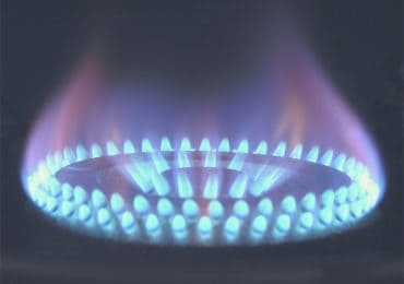 Blue gas grill flame - propane, natural gas