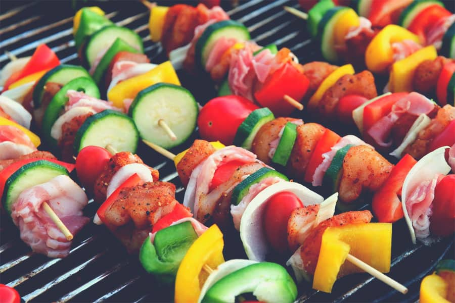 Fresh vegetable shashlik on a gas grill - best natural gas grill